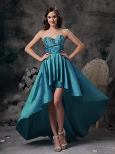 Latest Taffeta High-low Sweetheart Teal Dress for Prom in Flint Clwyd