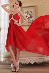 Red Chapel Train One Shoulder Senior Prom Dress with Rhinestones