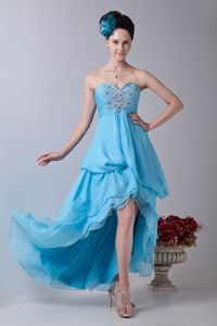 Aqua Blue Chiffon High-low Beaded Sweetheart Prom Outfits Cheap