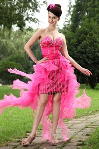 Unique High-low Beading Hot Pink Prom Gowns in Port Sunlight