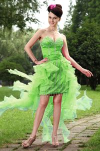 Spring Green Asymmetrical Prom Dress for Petite Girls with Beads