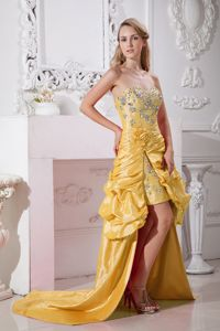 Recent Flower and Rhinestone Accent High-low Prom Attire in Yellow