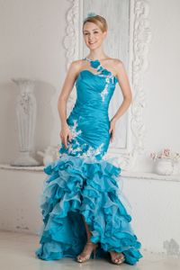 Mermaid One Shoulder Ruffled Prom Gown Dresses with Appliques