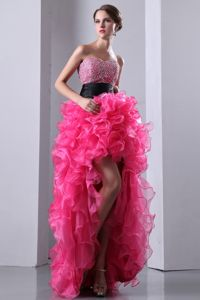 2014 Wholesale Hot Pink High-low Beading Prom Attire with Ruffles