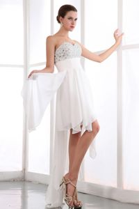 Cute Asymmetrical White Chiffon Prom Gown with Beaded Bodice