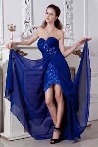 Royal Blue Prom Attire with Floral Embellishment and Embroidery