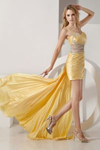 Yellow Straps Ruched Beaded Senior Prom Dress Detachable 2013
