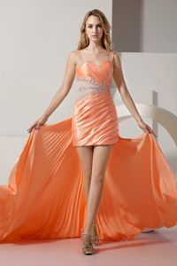 Orange Straps Beading Detachable Prom Dress for Girls with Pleat