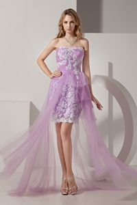 Pretty Lavender High-low Strapless Tulle Prom Dress with Appliques