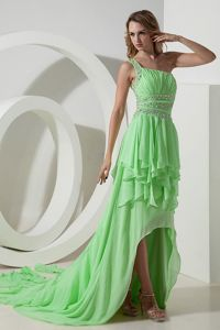 Spring Green Beaded One Shoulder High-low Dress for Prom in Burlington