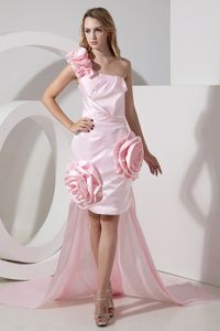 Baby Pink One Shoulder High-low Semi-formal Prom Dress with Flowers