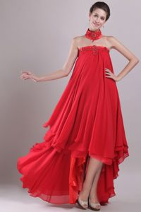 New Arrival Red Strapless High-low Beaded Prom Dress with Embroidery