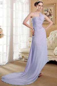Lilac Asymmetrical One Shoulder Ruched Brush Train Informal Prom Dress
