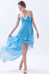 Lovely Ruched V-neck Baby Blue High-low Dress for Prom in Belle Plaine