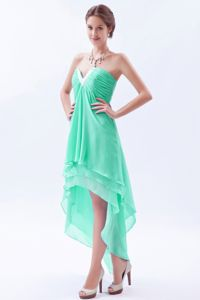 Apple Green Beaded V-neck High-low Informal Prom Dress in Georgetown