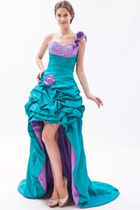 Teal and Lavender Flowers One Shoulder High-low Prom Dress with Pick-ups