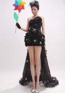 Black Strapless Watteau Train Informal Prom Dresses with Flowers in Addison