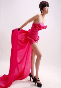 Strapless Hot Pink Watteau Train Beaded Semi-formal Prom Dress with Flowers