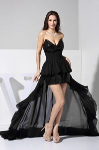 Black Chiffon and Sequin V-neck High-low Ruched Semi-formal Prom Dress