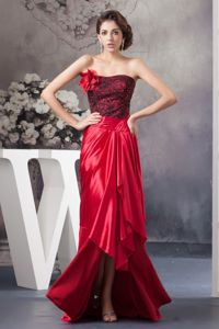 Red Strapless High-low Semi-formal Prom Dress with Flower and Black Lace