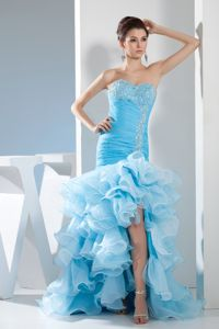 Pretty Mermaid Aqua Blue Sweetheart High Slit Prom Gowns with Ruffles