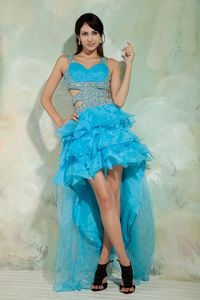 Sky Blue High-low Beaded Informal Prom Dresses with Cutouts and Layers