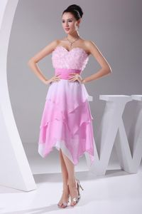 Asymmetrical Ombre Color Sweetheart Junior Prom Dresses with Flowers