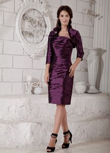 Strapless Ruched Fitted Purple Knee-length Informal Prom Dress for Wholesale