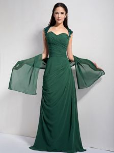 Ruched Dark Green Long Dress for Prom with Embroidery and Cut Out Back