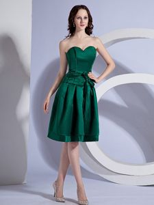Sweetheart Dark Green Short Prom Dresses with Sash for Mother of the Bride