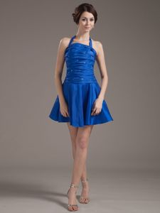 Recommended Halter Beaded Ruched Peacock Blue Prom Dress Mini-length
