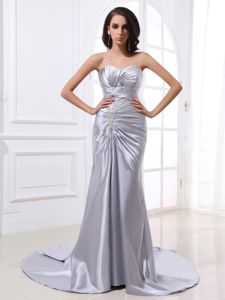 Noble Sweetheart Ruched Beaded Silver Formal Prom Dresses in Fashion