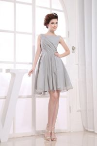 low Price Bateau Neck Grey Knee-length Prom Dress for Summer in Chiffon