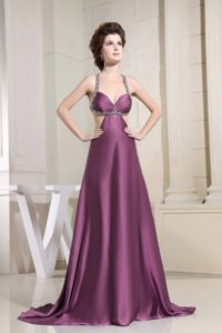 Popular Beaded Purple Prom Gown with Cool Back in North Plainfield NJ