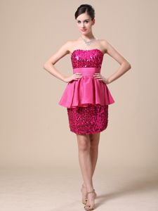 Most Popular Sexy Sequin Hot Pink Informal Prom Dress with Peplum