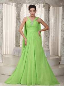 Plus Size Watteau Train Chiffon Spring Green Formal Prom Gown in Style