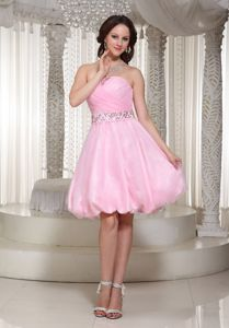 Hot Sale Zipper-up Baby Pink Short Prom Dress for Slim Girls with Puffy Hem