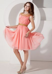 Plus Size Bateau Neck Chiffon Watermelon Informal Prom Dress on Sale