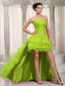 Vintage Strapless Ruffled Olive Green Prom Dress with Detachable Train
