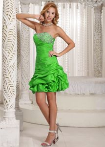 Latest Beaded Spring Green Short Prom Dress for Summer with Pick-ups