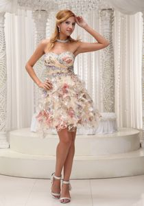 The Best Multi-color Beaded Ruffled Mini Prom Attire for Homecoming