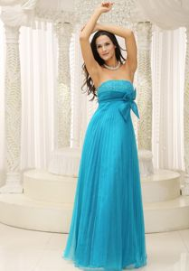 Fast Shipping Pleated Beaded Teal Long Summer Prom Dress for Juniors