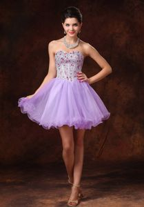 Beaded Short Tulle Backless Prom Gowns in Lavender in Townsville