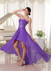 Beaded Sweetheart Chiffon High-low Ruched Prom Dress in Purple