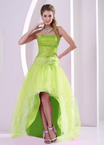 Yellow Green Sequined High-low Prom Dress with Hand Flowers in Penrith