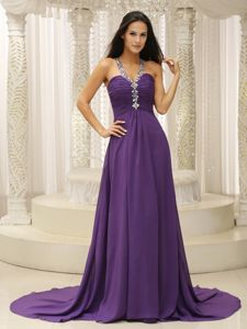 V-neck Beaded Ruched Informal Prom Dresses in Blue Mountains NSW