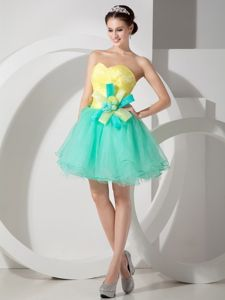 Apple Green and Yellow Sweetheart Prom Dress with Hand Flowers