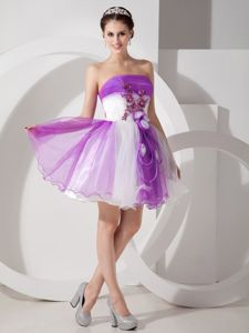 Strapless Short Hand Flowery Prom Gown in Purple and White in Gympie