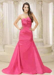 Rose Pink Ruched Satin Informal Prom Dress with Bowknot in Gladstone
