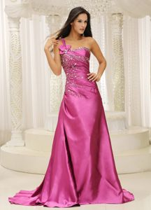 One Shoulder Beaded Satin Formal Prom Dresses in Devonport TAS